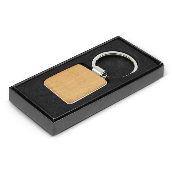 Echo Key Ring Square CA116770 Wood in Black Gift Box