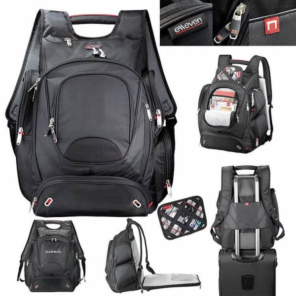 Elleven Checkpoint Friendly Compu Backpack EL003BK Black Various Views