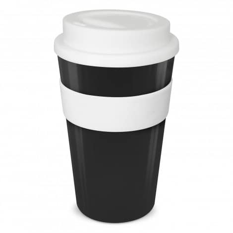 Express Cup Classic 480ml Logo Promotional Reusable Coffee Cup 112530 Black White band