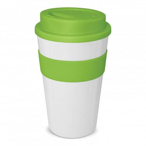 Express Cup Classic 480ml Logo Promotional Reusable Coffee Cup 112530 White Lime Green