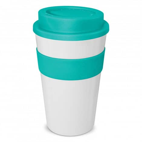 Express Cup Classic 480ml Logo Promotional Reusable Coffee Cup 112530 White Teal