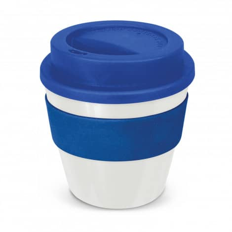 Express Cup Classic Reusable Coffee Cup Promotional Logo 115792 White Dark Blue