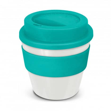 Express Cup Classic Reusable Coffee Cup Promotional Logo 115792 White Teal