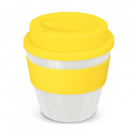 Express Cup Classic Reusable Coffee Cup Promotional Logo 115792 White Yellow