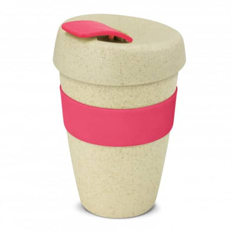 Express Cup Natura Double Wall Logo Promotional Reusable Coffee Cup 116348 Pink