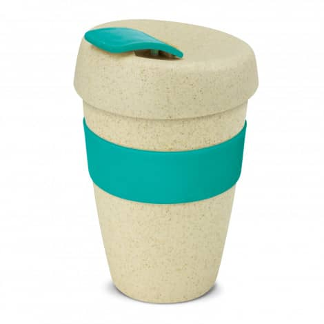Express Cup Natura Double Wall Logo Promotional Reusable Coffee Cup 116348 Teal