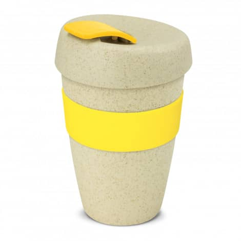 Express Cup Natura Double Wall Logo Promotional Reusable Coffee Cup 116348 Yellow