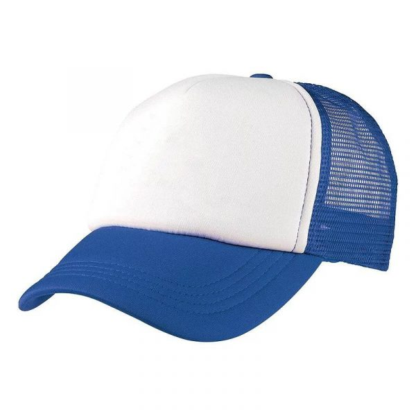 Foam Mesh Trucker Caps 4055 White Blue