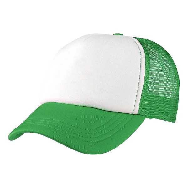 Foam Mesh Trucker Caps 4055 White Light Green
