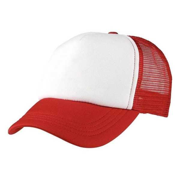 Foam Mesh Trucker Caps 4055 White Red