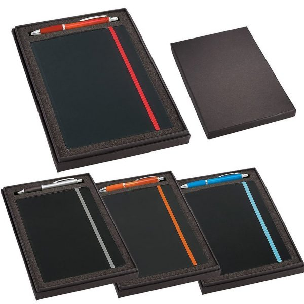 Gift Set with JB1001 Journal 4101 Nash Pen GIFT1007GY Various Colours in Black Gift Box with Pen 1