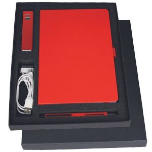 Gift Set with Journal Jolt Charger Danley Pen GIFT1008BK In Black Gift Box with Pen USB Charger Cable and Pen Red