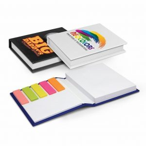 Hard Cover Notes and Flags 100926 Various colours open showing coloured tabs