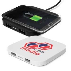 Impulse Wireless Charging Hub CA112657 Black White with Phone