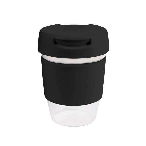 Karma Kup Clear Plastic Roma with Flip Lid Coloured Band 340ml G1956 Black