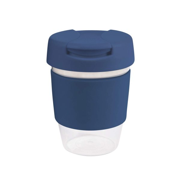 Karma Kup Clear Plastic Roma with Flip Lid Coloured Band 340ml G1956 Blue