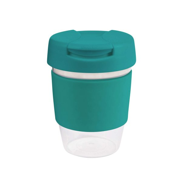 Karma Kup Clear Plastic Roma with Flip Lid Coloured Band 340ml G1956 Green