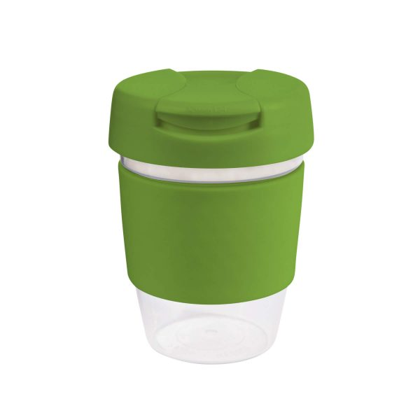 Karma Kup Clear Plastic Roma with Flip Lid Coloured Band 340ml G1956 Lime Green