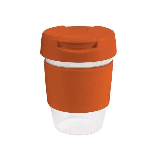 Karma Kup Clear Plastic Roma with Flip Lid Coloured Band 340ml G1956 Orange