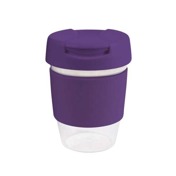 Karma Kup Clear Plastic Roma with Flip Lid Coloured Band 340ml G1956 Purple