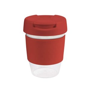 Karma Kup Clear Plastic Roma with Flip Lid Coloured Band 340ml G1956 Red
