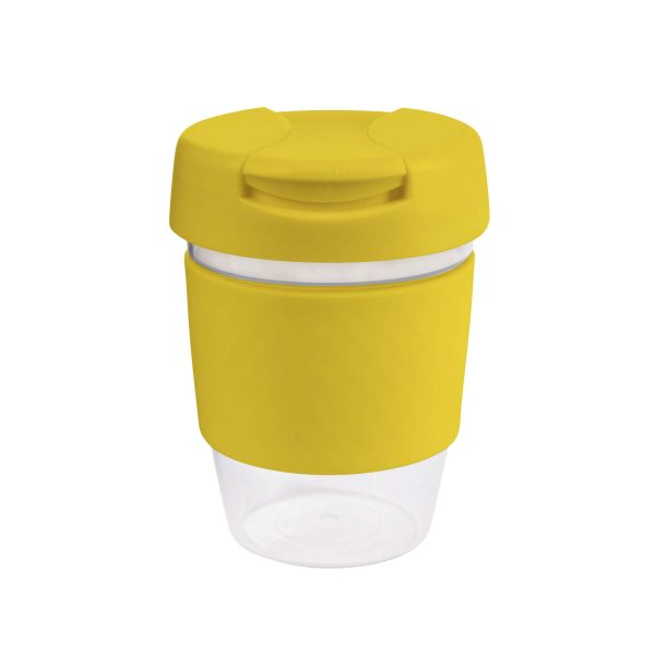 Karma Kup Clear Plastic Roma with Flip Lid Coloured Band 340ml G1956 Yellow