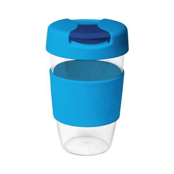 Karma Kup Clear Plastic with Flip Lid 535ml G1957 Light Blue