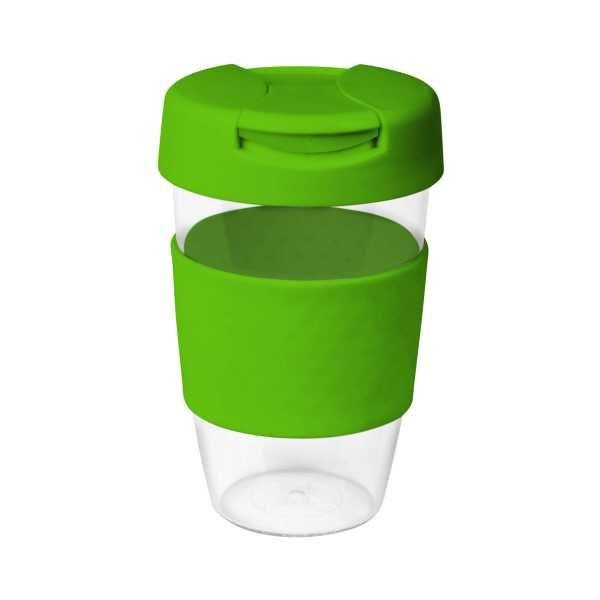 Karma Kup Clear Plastic with Flip Lid 535ml G1957 Lime Green