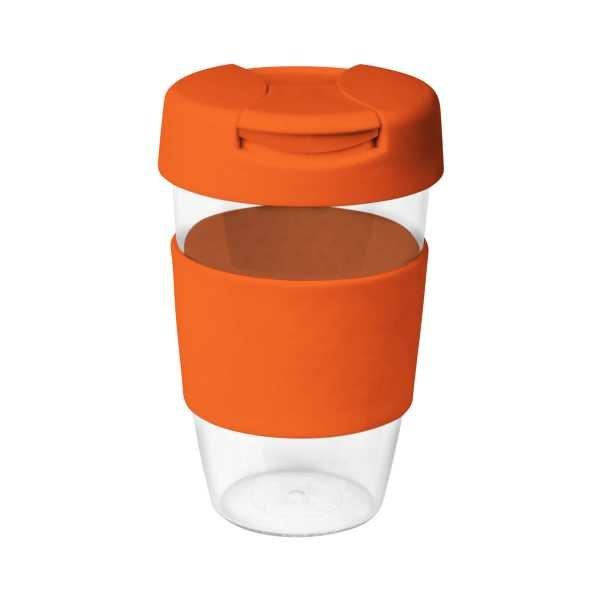 Karma Kup Clear Plastic with Flip Lid 535ml G1957 Orange