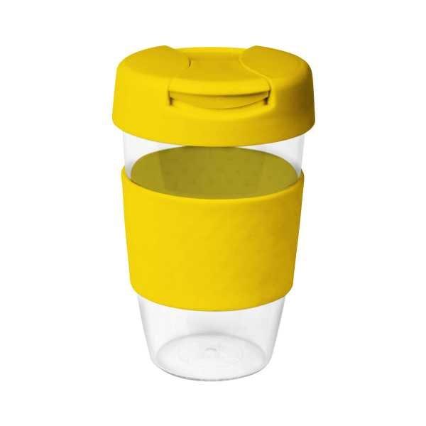 Karma Kup Clear Plastic with Flip Lid 535ml G1957 Yellow