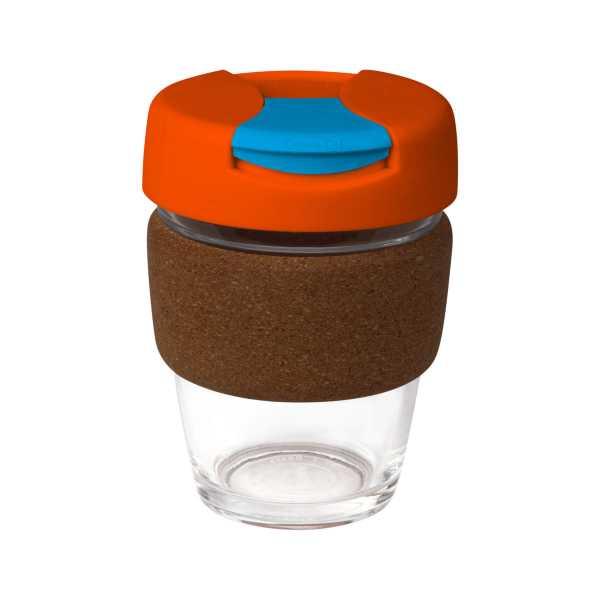 Karma Kup Clear Plastic with Flip Lid Cork Band 340ml G1963 Orange