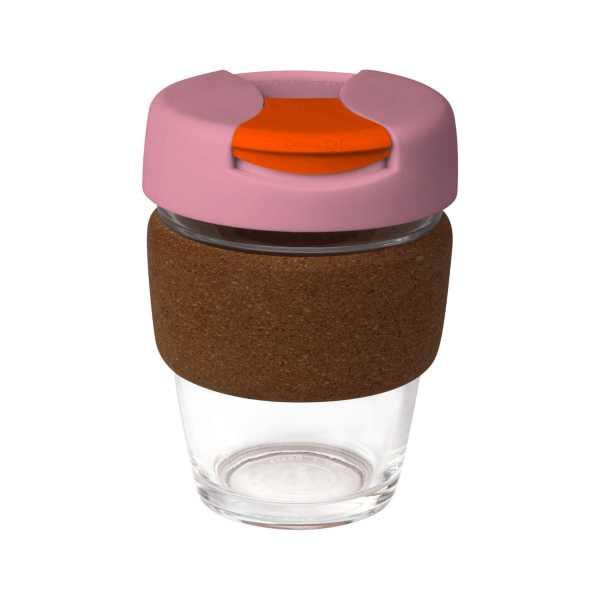 Karma Kup Clear Plastic with Flip Lid Cork Band 340ml G1963 Pink