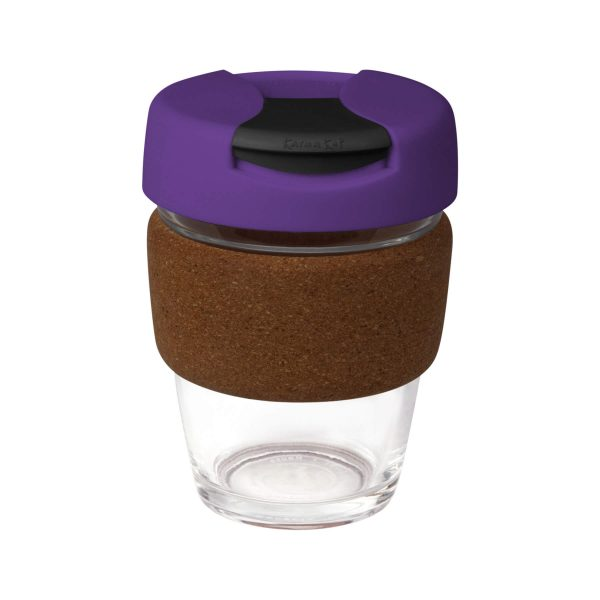 Karma Kup Clear Plastic with Flip Lid Cork Band 340ml G1963 Purple