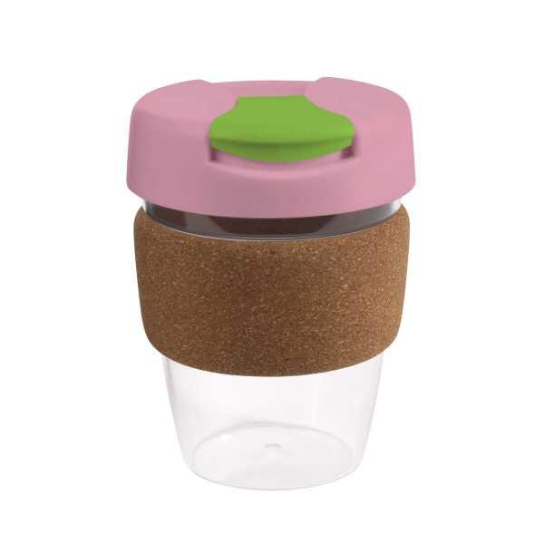 Karma Kup Clear Plastic with Flip Lid Cork Band 340ml G1970 Pink
