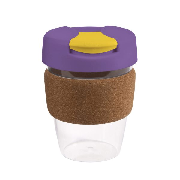 Karma Kup Clear Plastic with Flip Lid Cork Band 340ml G1970 Purple