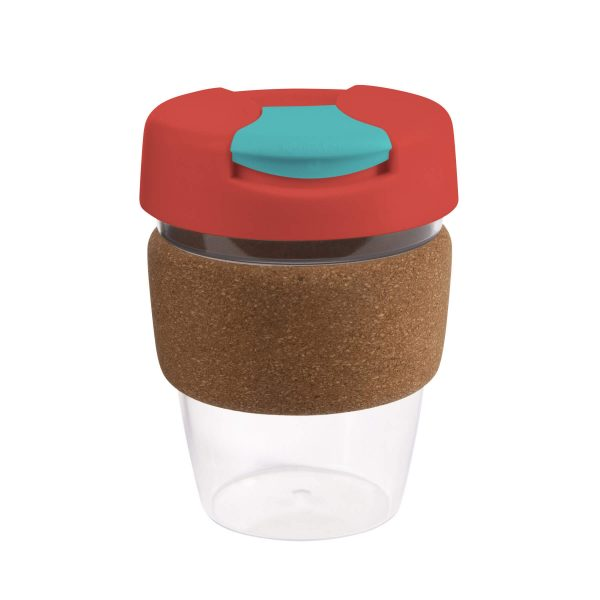Karma Kup Clear Plastic with Flip Lid Cork Band 340ml G1970 Red