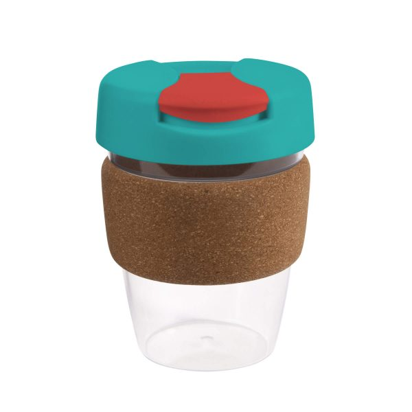 Karma Kup Clear Plastic with Flip Lid Cork Band 340ml G1970 Teal