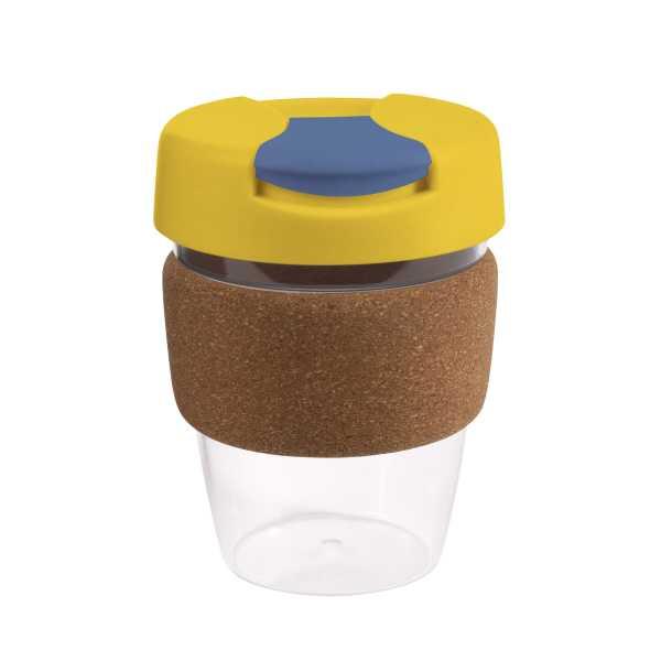 Karma Kup Clear Plastic with Flip Lid Cork Band 340ml G1970 Yellow