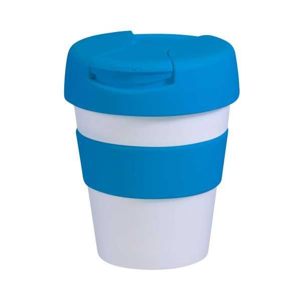 Karma Kup Plastic with Flip Lid 320ml G1960 White Light Blue