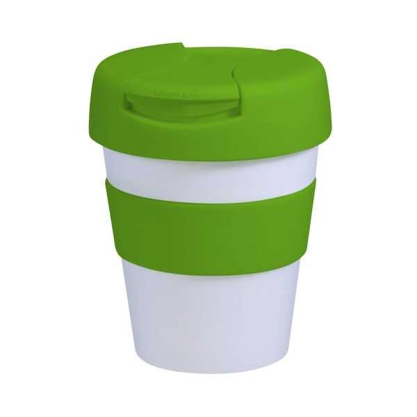 Karma Kup Plastic with Flip Lid 320ml G1960 White Lime Green