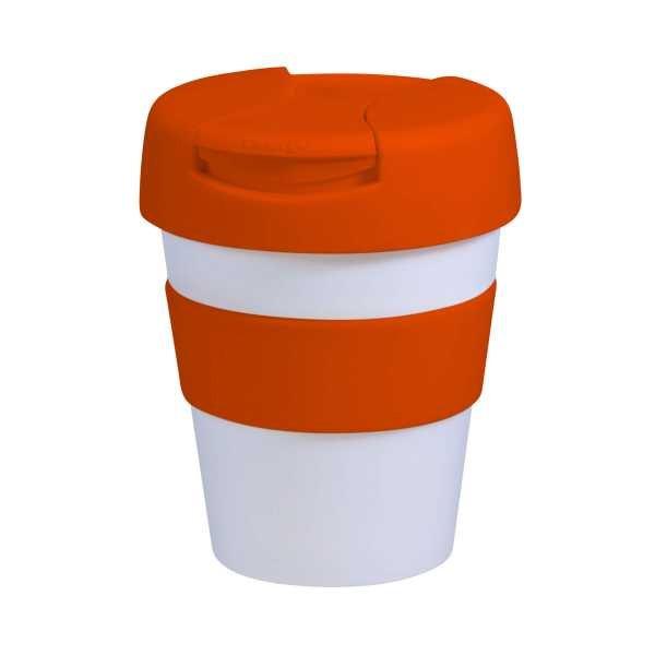 Karma Kup Plastic with Flip Lid 320ml G1960 White Orange