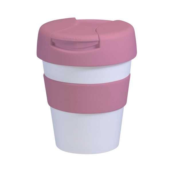 Karma Kup Plastic with Flip Lid 320ml G1960 White Pink
