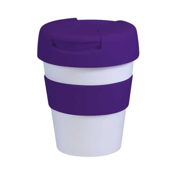 Karma Kup Plastic with Flip Lid 320ml G1960 White Purple