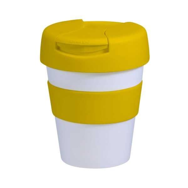 Karma Kup Plastic with Flip Lid 320ml G1960 White Yellow