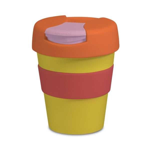 Karma Kup Plastic with Flip Lid 320ml G1960 Yellow Orange
