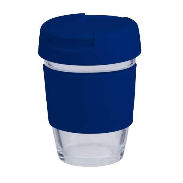 Karma Kup Plastic with Flip Lid Coloured Band 340ml G1799P Blue