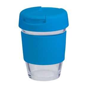 Karma Kup Plastic with Flip Lid Coloured Band 340ml G1799P Light Blue