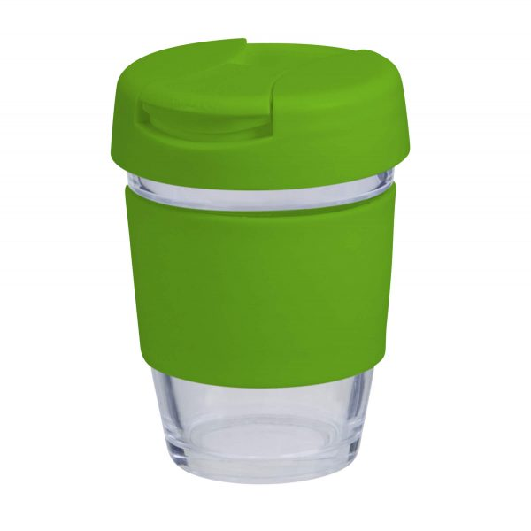 Karma Kup Plastic with Flip Lid Coloured Band 340ml G1799P Lime Green