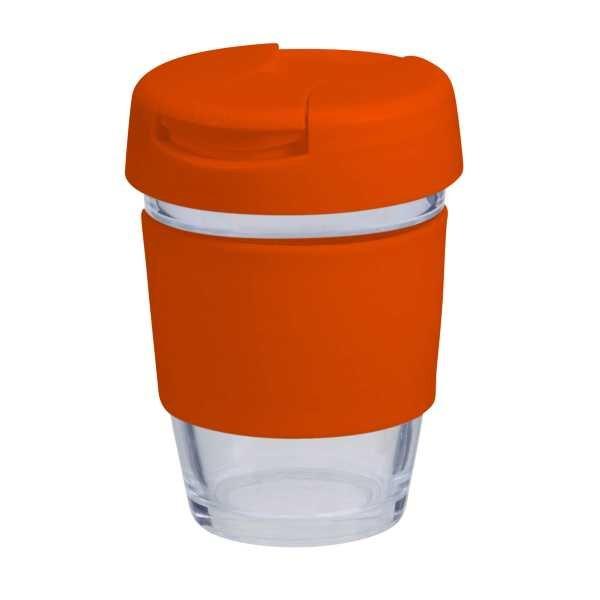 Karma Kup Plastic with Flip Lid Coloured Band 340ml G1799P Orange
