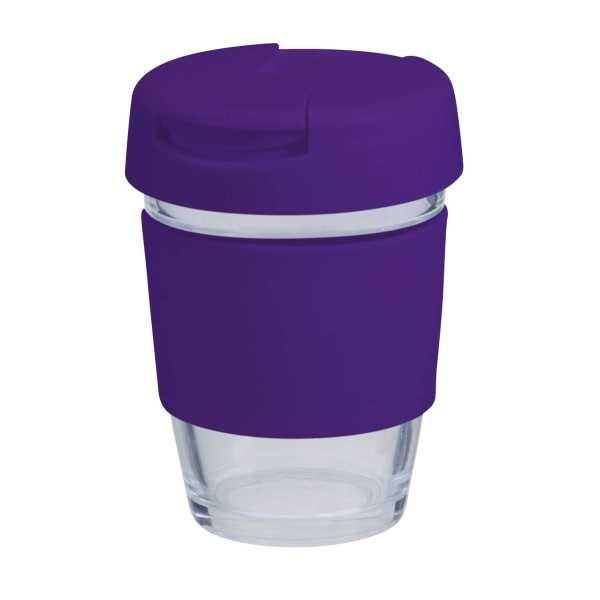 Karma Kup Plastic with Flip Lid Coloured Band 340ml G1799P Purple